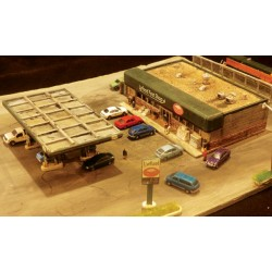 Convenience Store w/Flat Roof, Canopy, Fuel Pumps, and Accessories