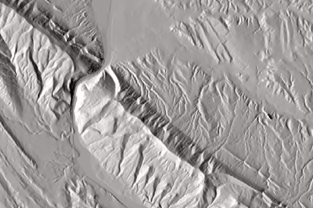 Screen shot of a mountain relief map