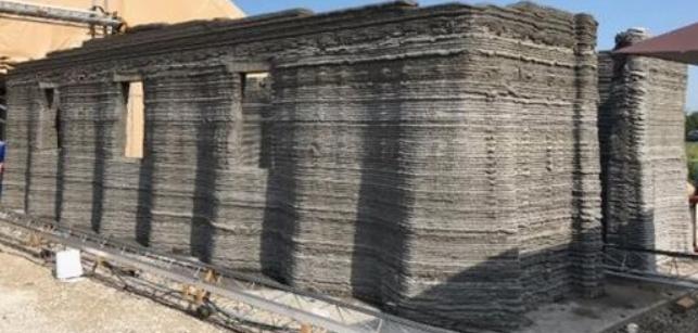 Photo of 3D printed concrete barricks