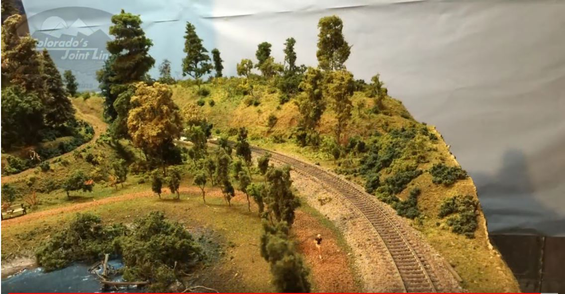 Image of model railroad layout hills using foam and blanket batting