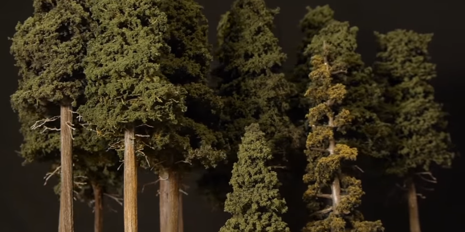 Photo of model railroad pine trees