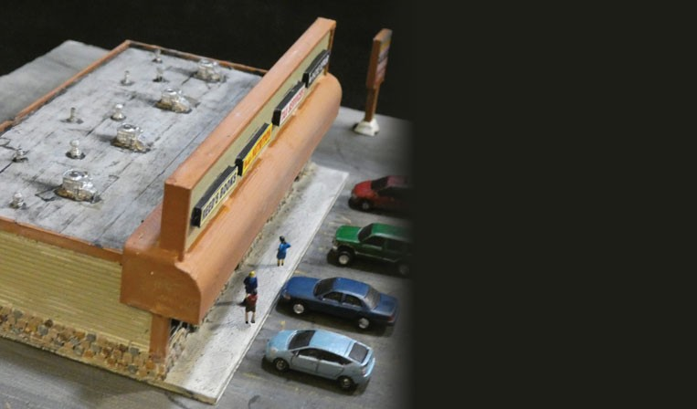 Lyforms Small-Scale N Scale 3D Printed Strip Mall Building Kit