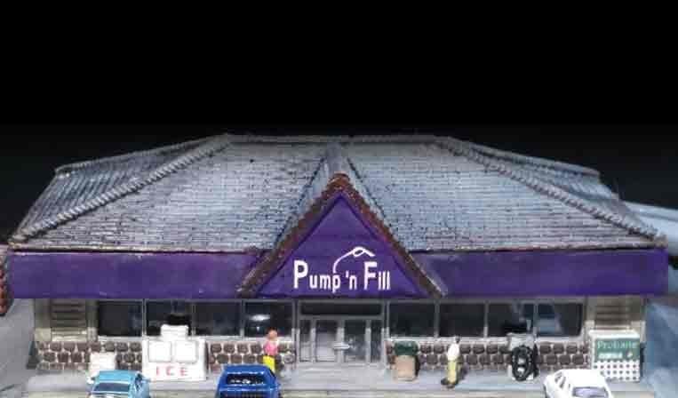 Modern era hip roofed convenience store
